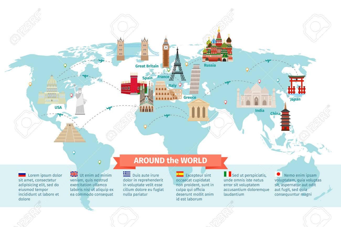 Carte Du Monde Chine Japon.Monde Points De Repere Sur La Carte Kremlin Et Eiffel Et La Tour De Pise La Chine Et Le Japon Et L Inde Vector Illustration