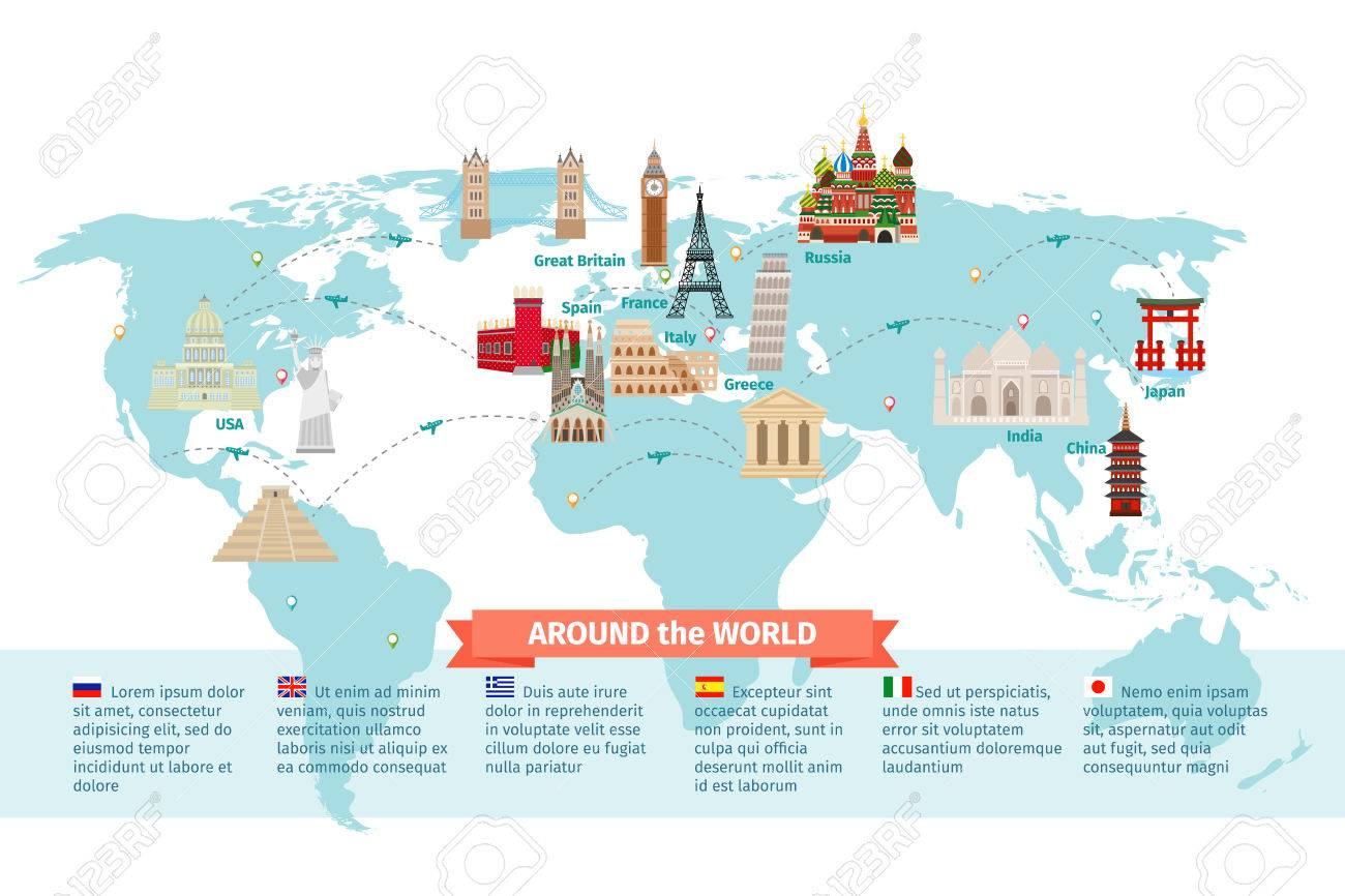 World landmarks on map kremlin and eiffel and leaning tower world landmarks on map kremlin and eiffel and leaning tower china and japan and gumiabroncs Image collections