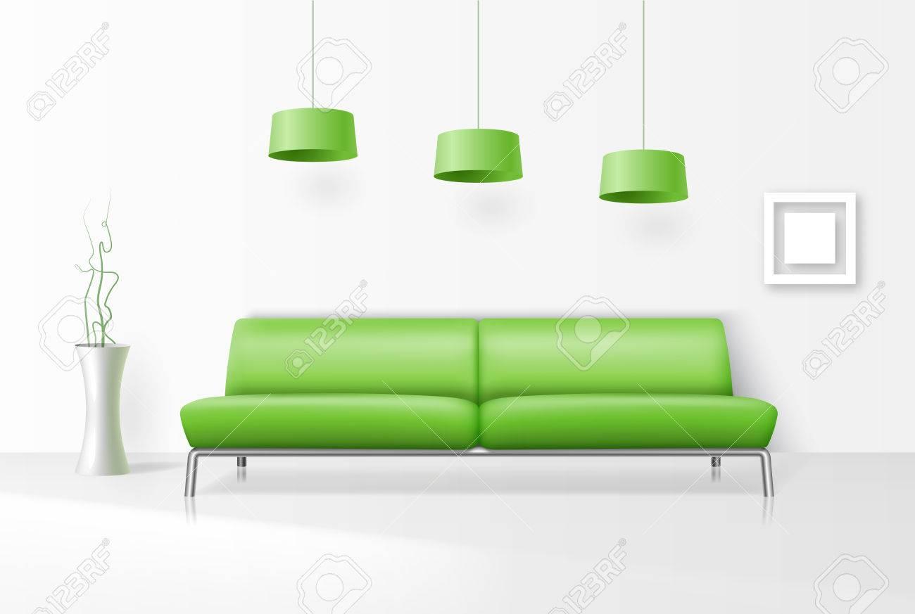 Weiß Interieur Mit Realistischen Sofa. Sofa, Zimmer Realistisch ...