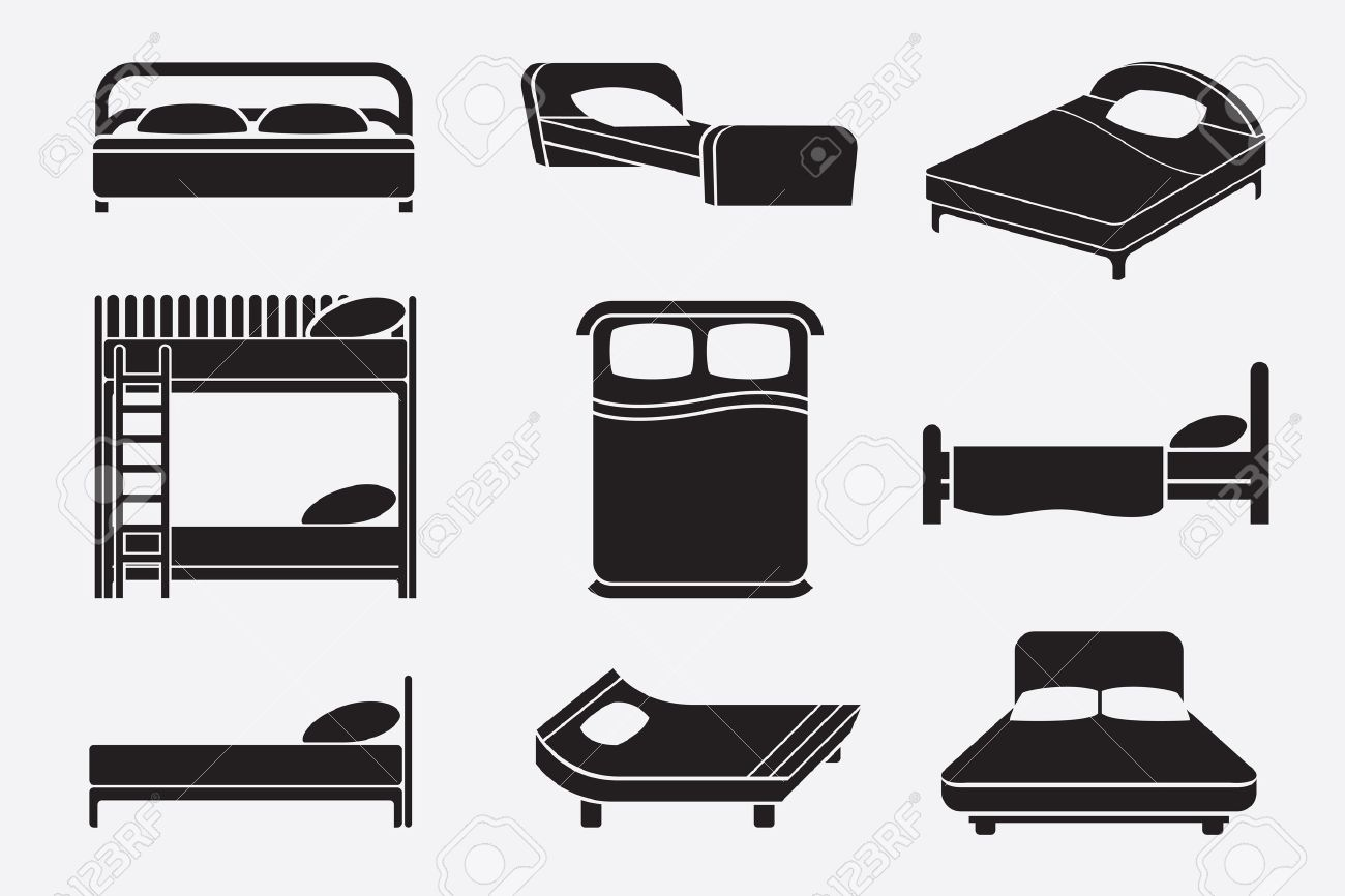 Bed Icons Set Bedroom Furniture Mattress And Relax Service