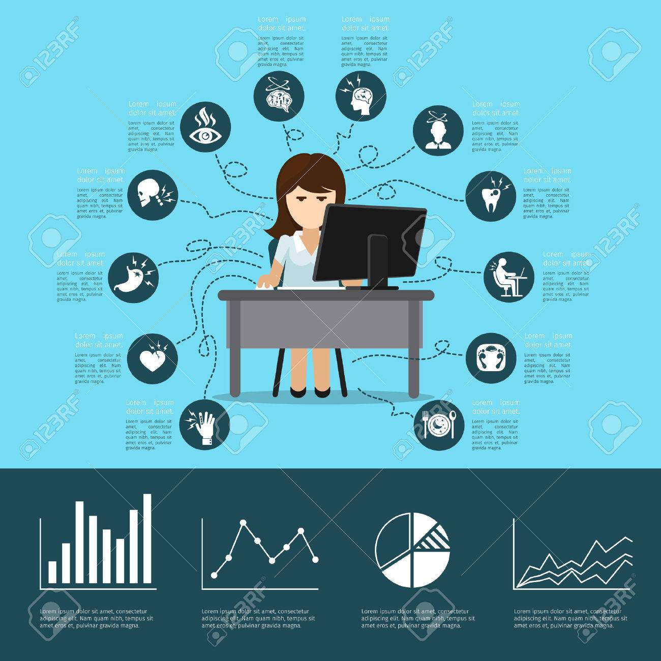 Office syndrome infographics. Computer and health, pain in back, headache and stress. Vector illustration - 42369857