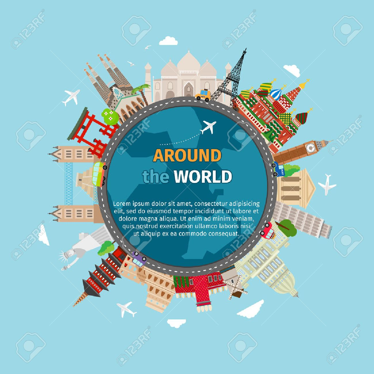 Travel around the world postcard. Tourism and vacation, earth world, journey global, vector illustration - 42795154