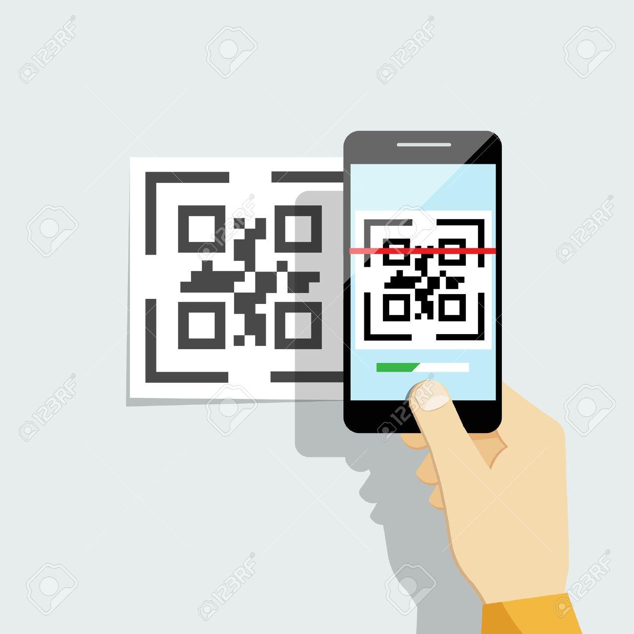 Capture QR Code On Mobile Phone. Digital Technology, Information ...
