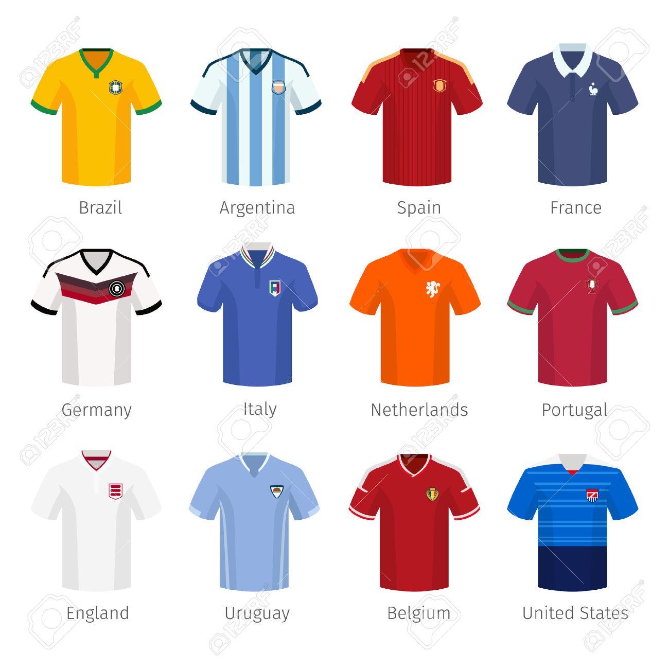 8a39def135479 Foto de archivo - Uniforme del fútbol o el fútbol de selecciones nacionales.  Argentina Brasil España Francia Italia Países Bajos Portugal inglaterra.