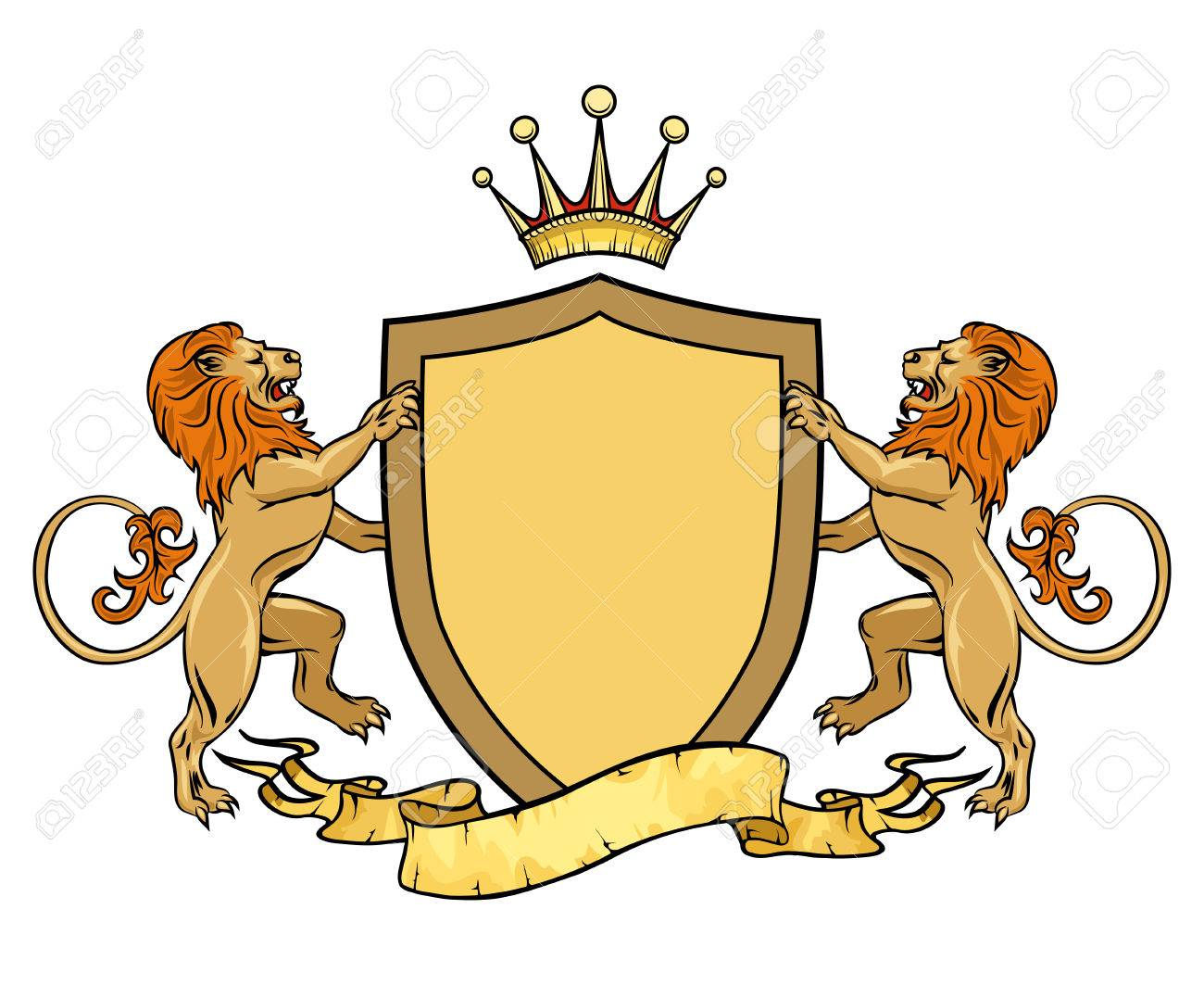 Heraldic Lions With Shield And Ribbon Emblem Or Badge Template Crest