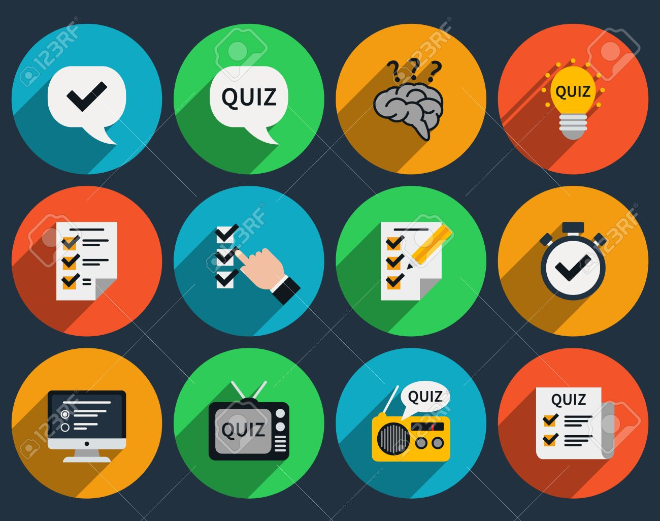 Mind games and quizzes flat icons  Question and answer, questionnaire