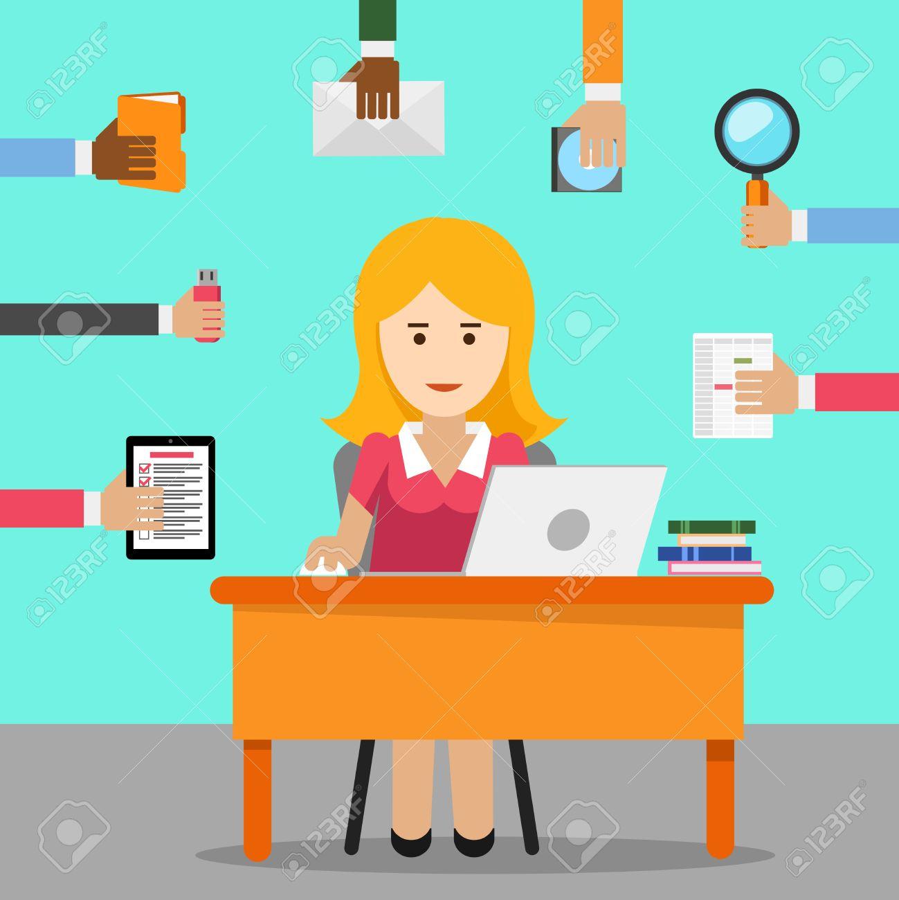 Secretary Busy Woman For Office Work Female Cartoon Businesswoman