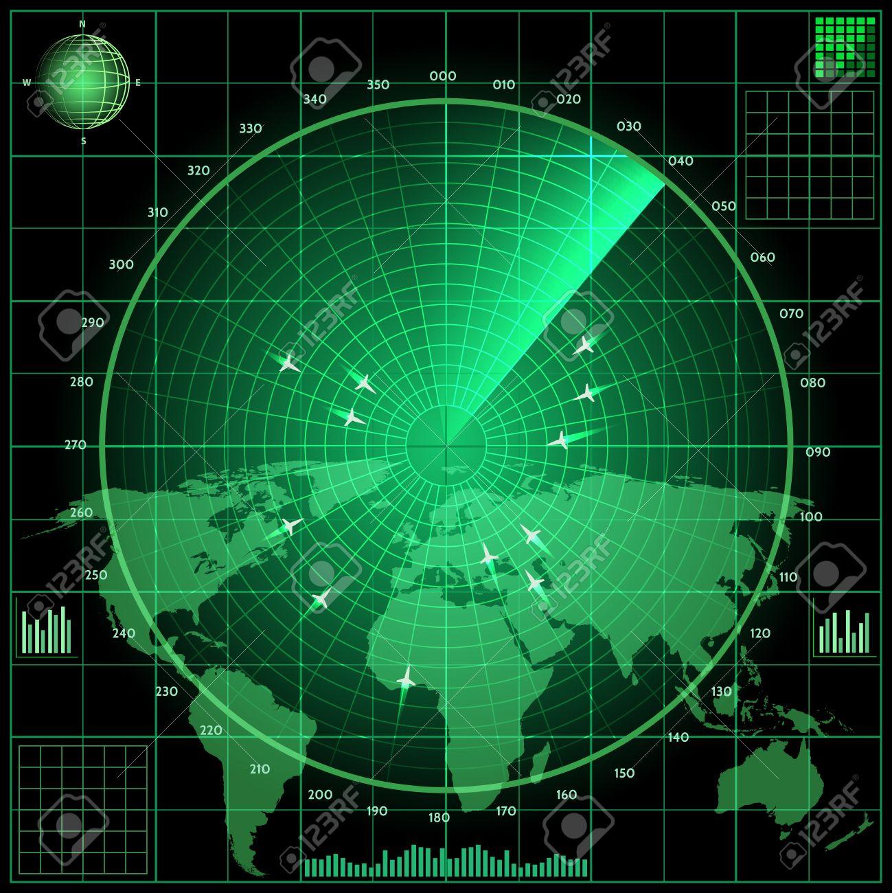 Pantalla De Radar Con Los Aviones Mapa Del Mundo De Fondo