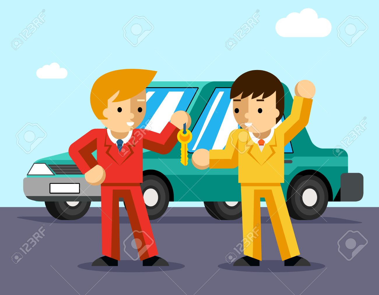 Buying car. Man gets keys to the car. Sale and giving, automobile dealer, people buy, success owner or driving. Vector illustration - 43675982