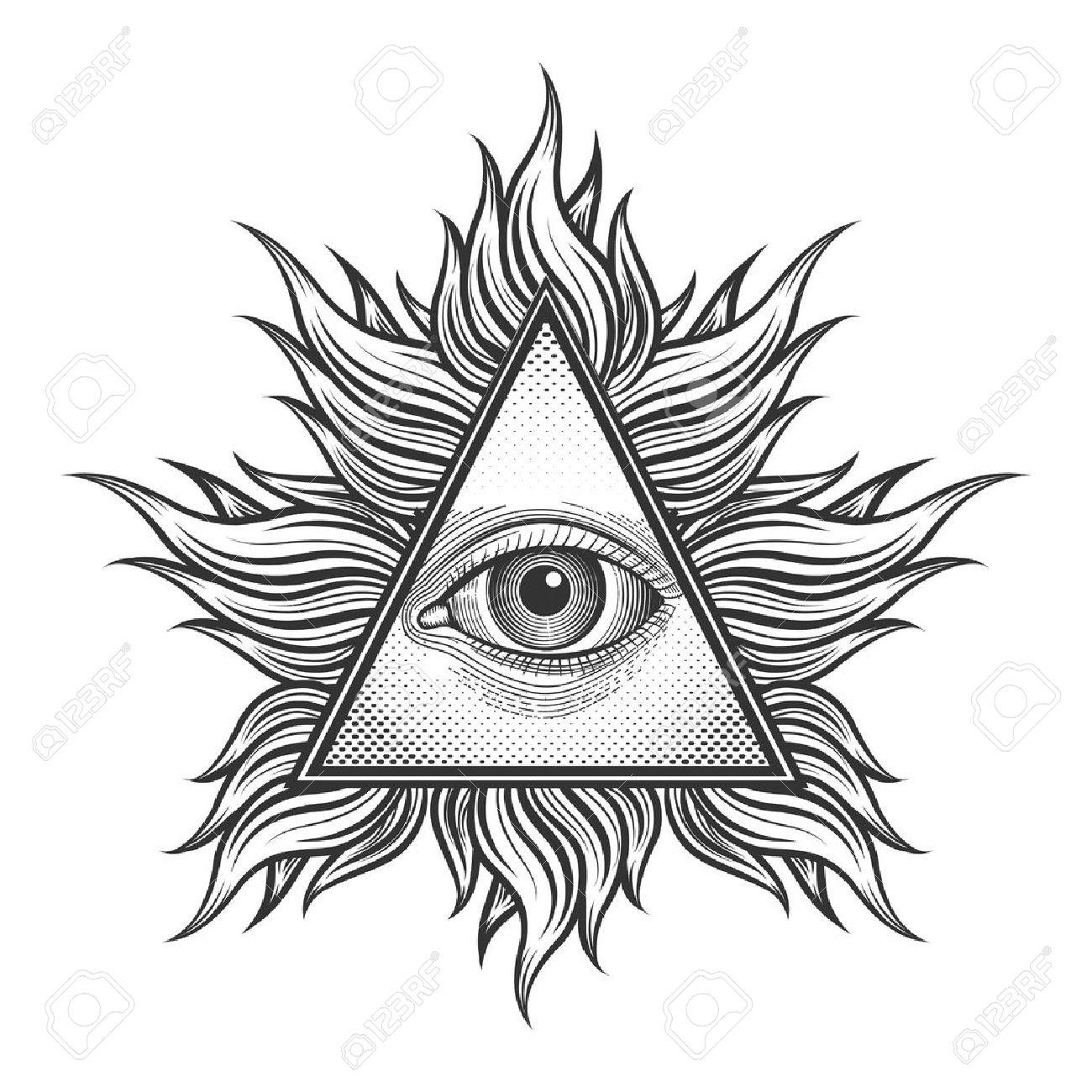 Todo Viendo Simbolo De La Piramide Del Ojo En El Estilo Del Tatuaje