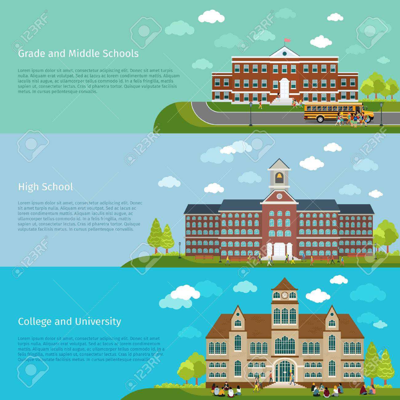 School education, high school and university study banners. Student and campus, graduation and architecture construction building, vector illustration - 43676111