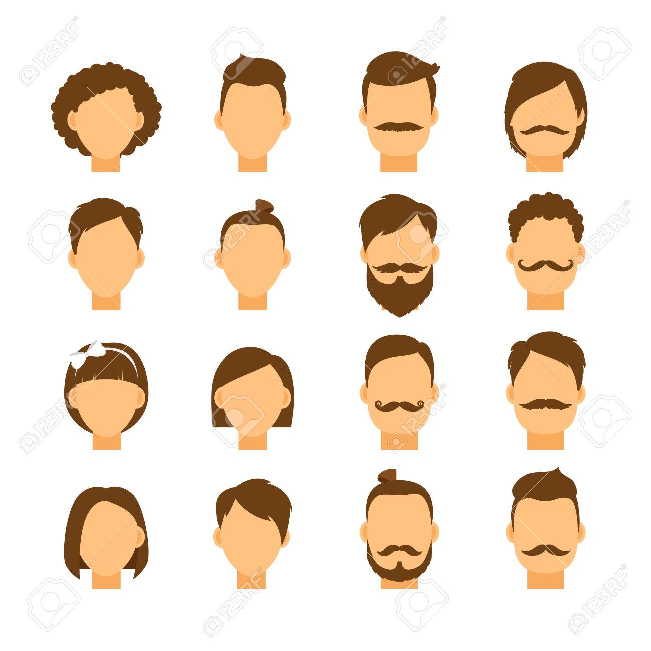 女性の髪型男性の髪のスタイル ヒップ肖像画女の子と男の子の頭