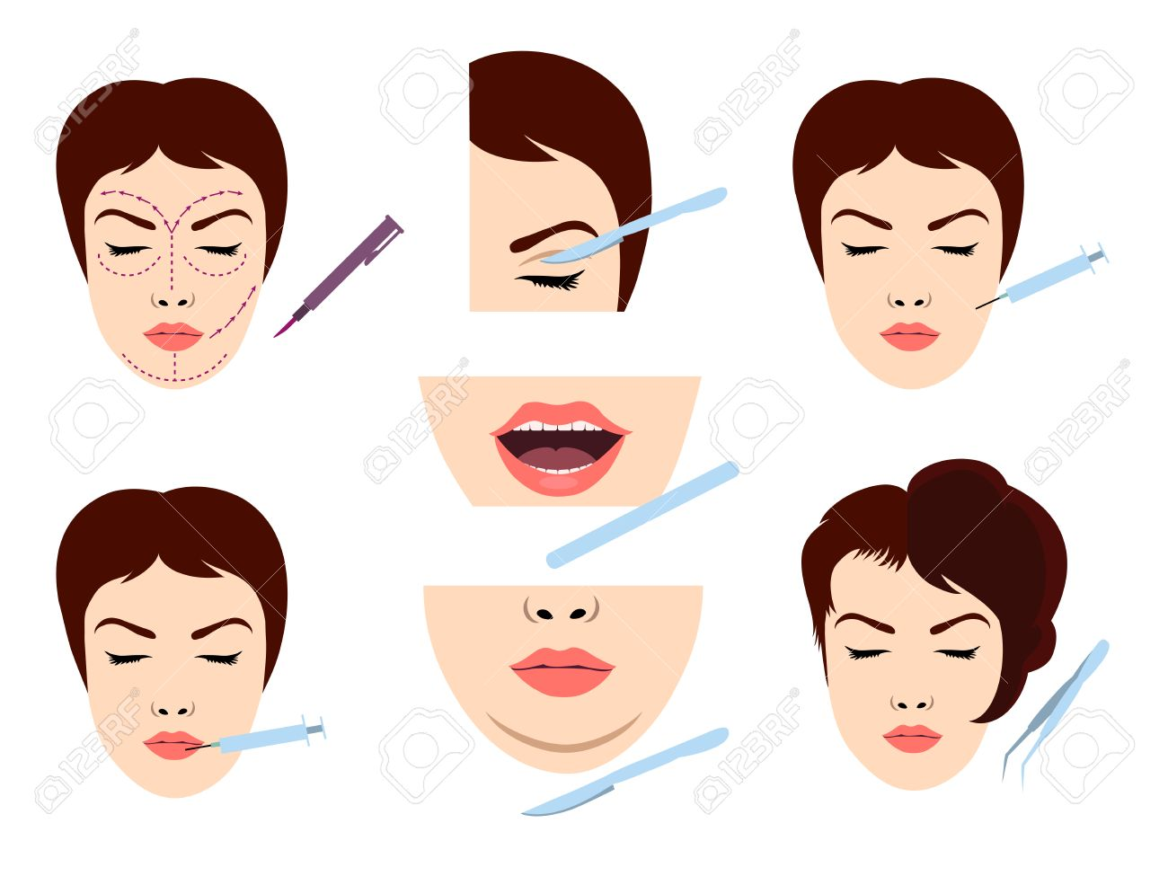 Facial cosmetic surgery vector icons. Stock Vector - 43837569