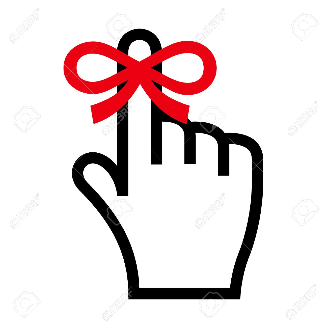 Reminder icon. Hand with finger on which is tied ribbon bow - 43837571