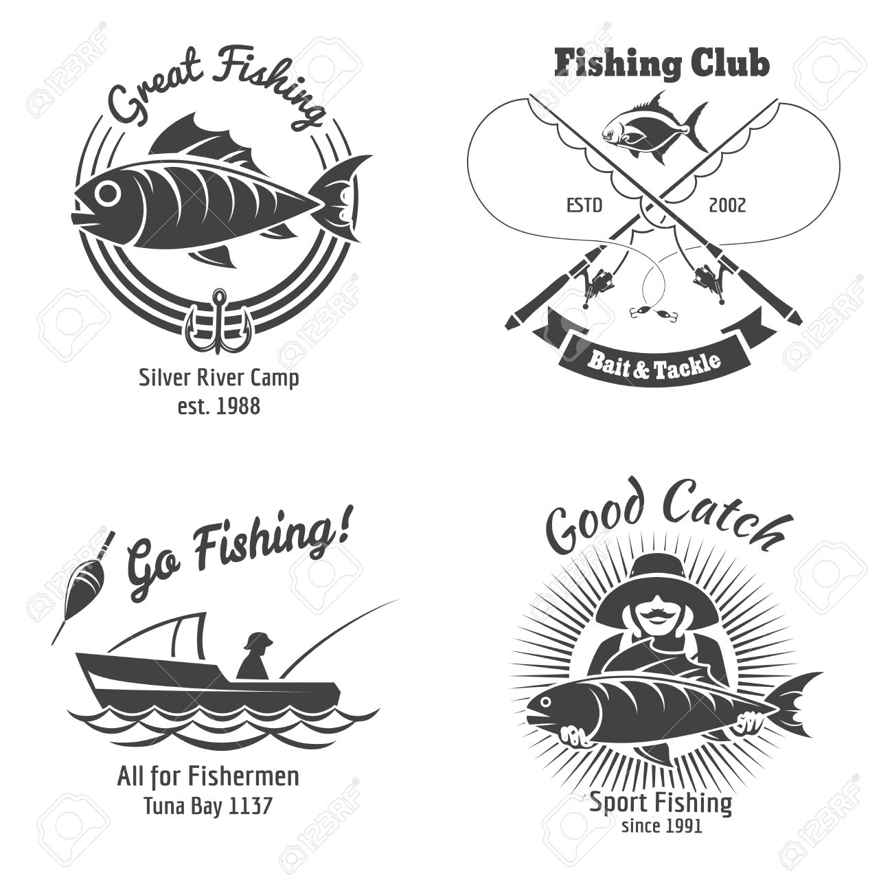 Fishing logo and emblems vintage vector set. Stamp and fish, sign and sticker, food animal, vector illustration - 44250522