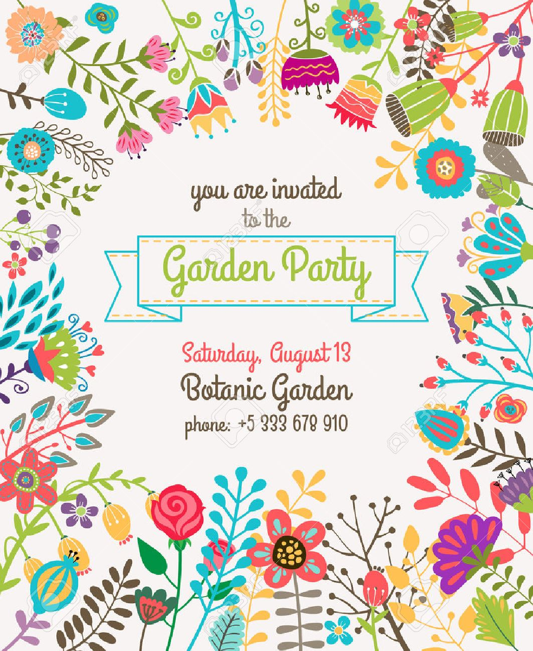Garden Or Summer Party Invitation Template Or Poster. Nature ...