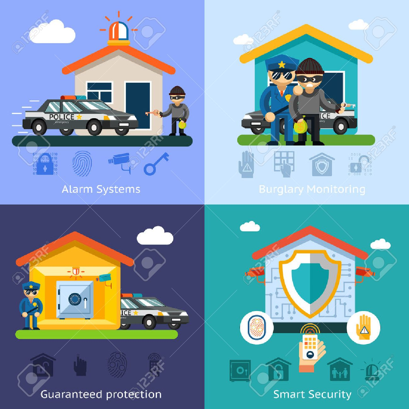 Home Security System Flat Vector Background Concepts. House Design  Technology, Symbol Safety Control Protection