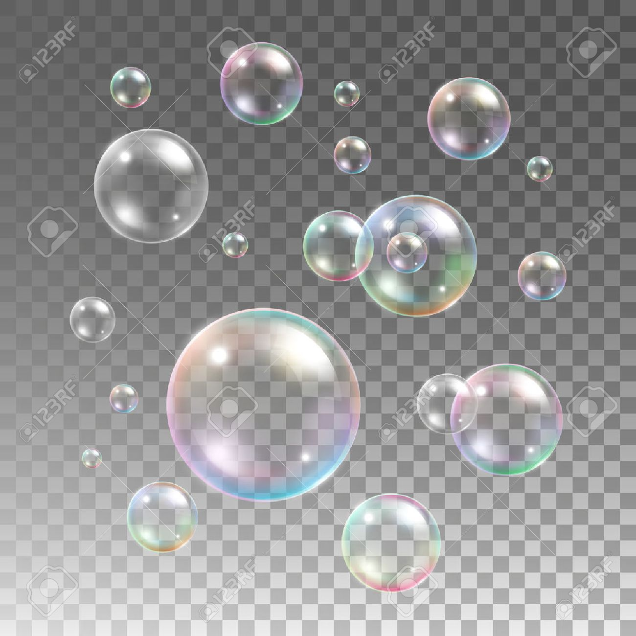 Soap bubble background download free vector art stock graphics - Transparent Multicolored Soap Bubbles Vector Set On Plaid Background Sphere Ball Design Water And