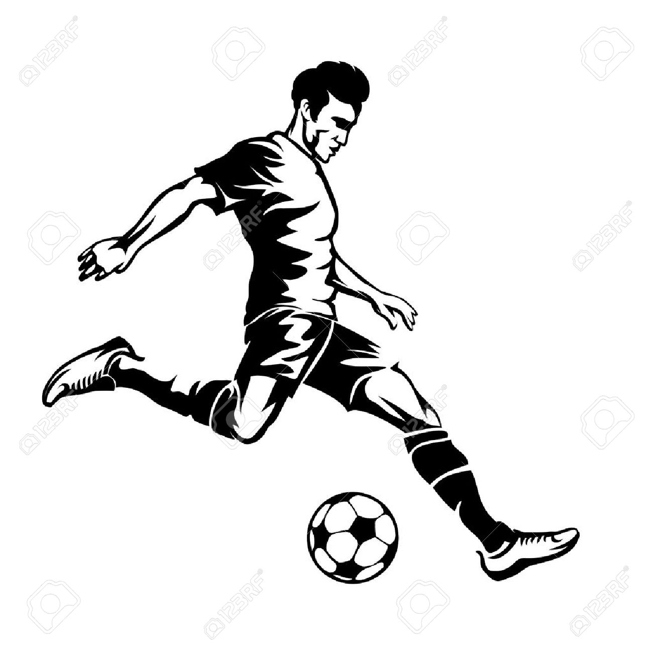 Football Player With Soccer Ball Vector Silhouette Sport Game