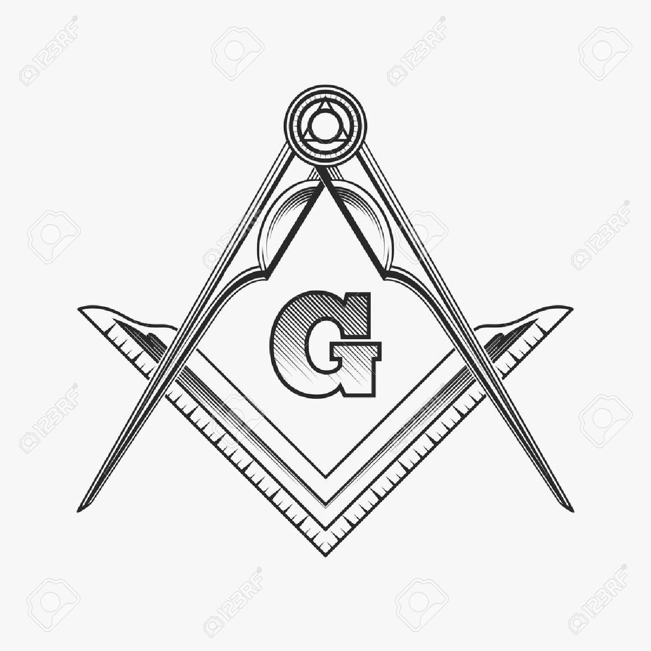 Freemasonry emblem icon with G great architect  Mystic occult