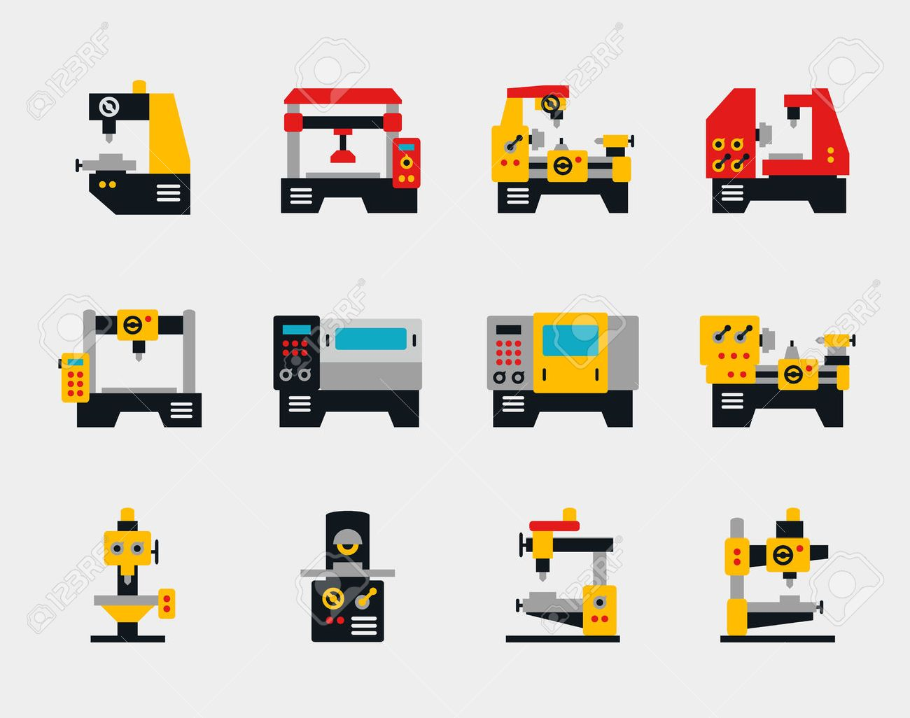 Conveyor units and machines flat icons set. Industry work, factory production, vector illustration - 44251599