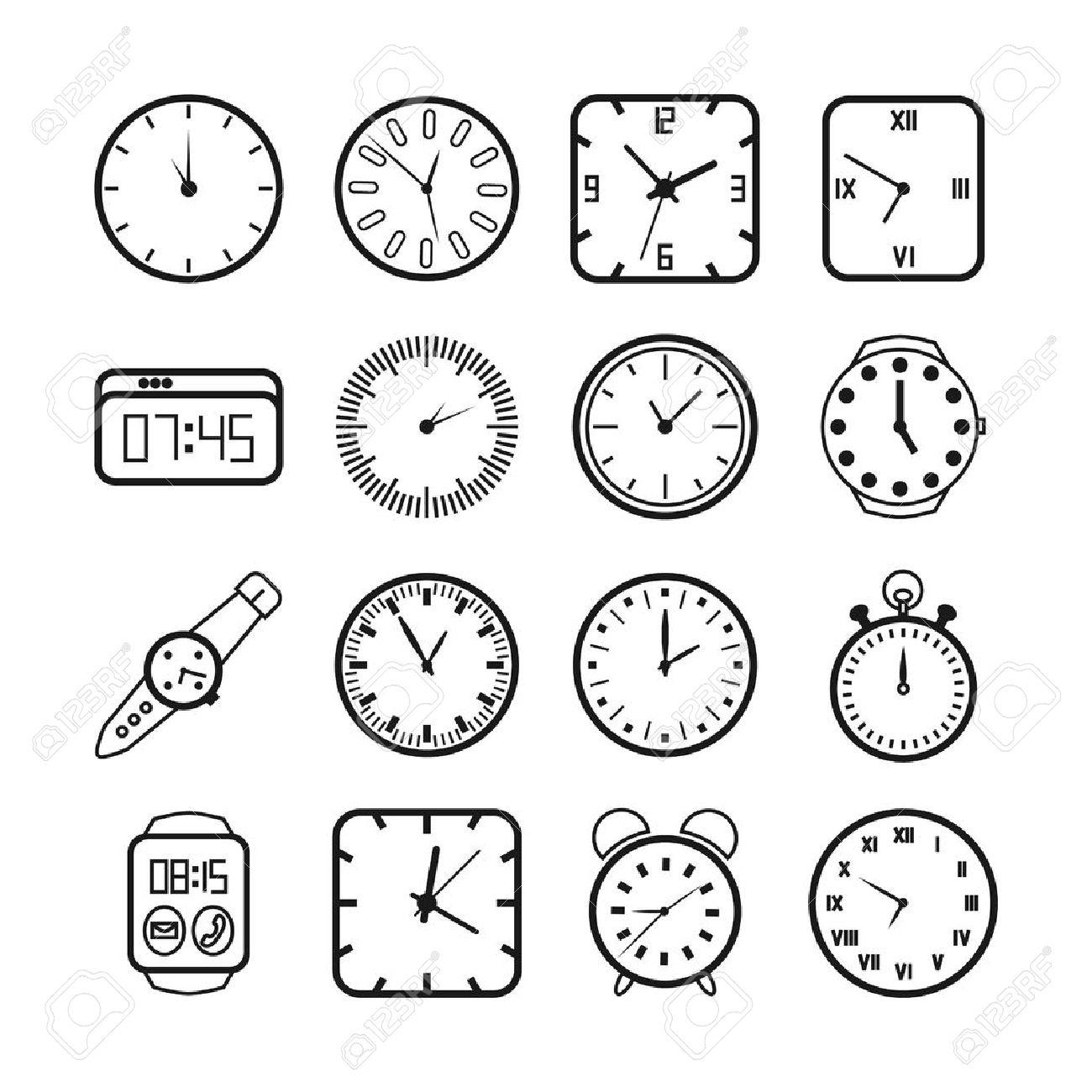 Zeit Und Uhren Symbole Gesetzt Timer Und Alarm Zweiter Zeiger