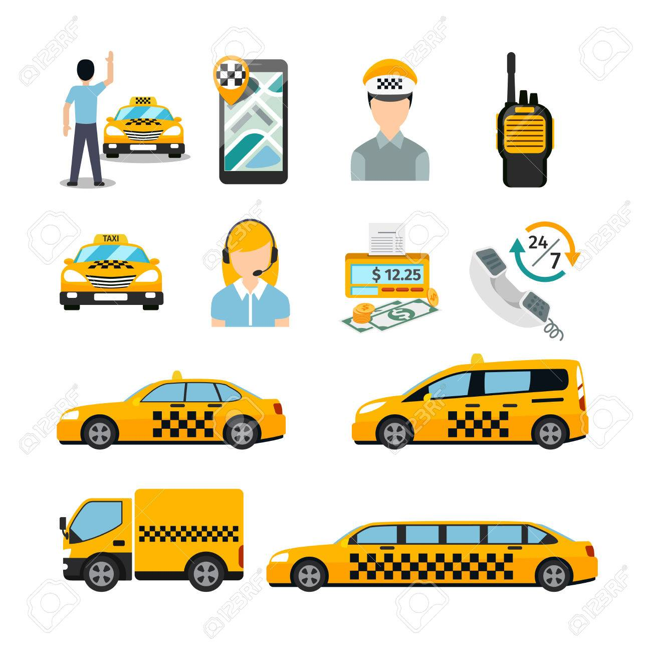 Flat Taxi Icons. Transportation Service. Cab And Vehicle, Automobile ...