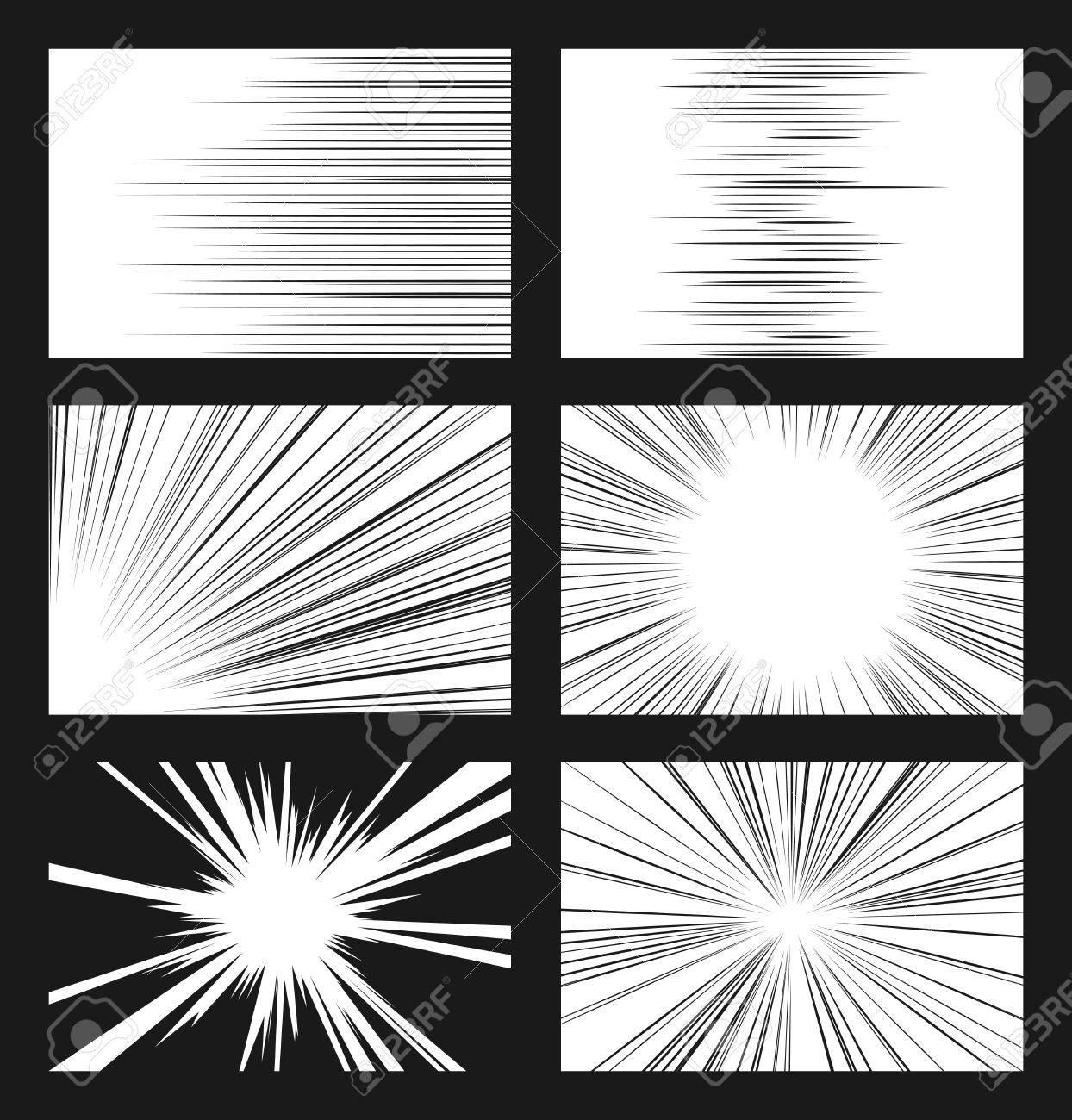 コミックの水平および放射状の速度ライン ベクトル セットですレイと