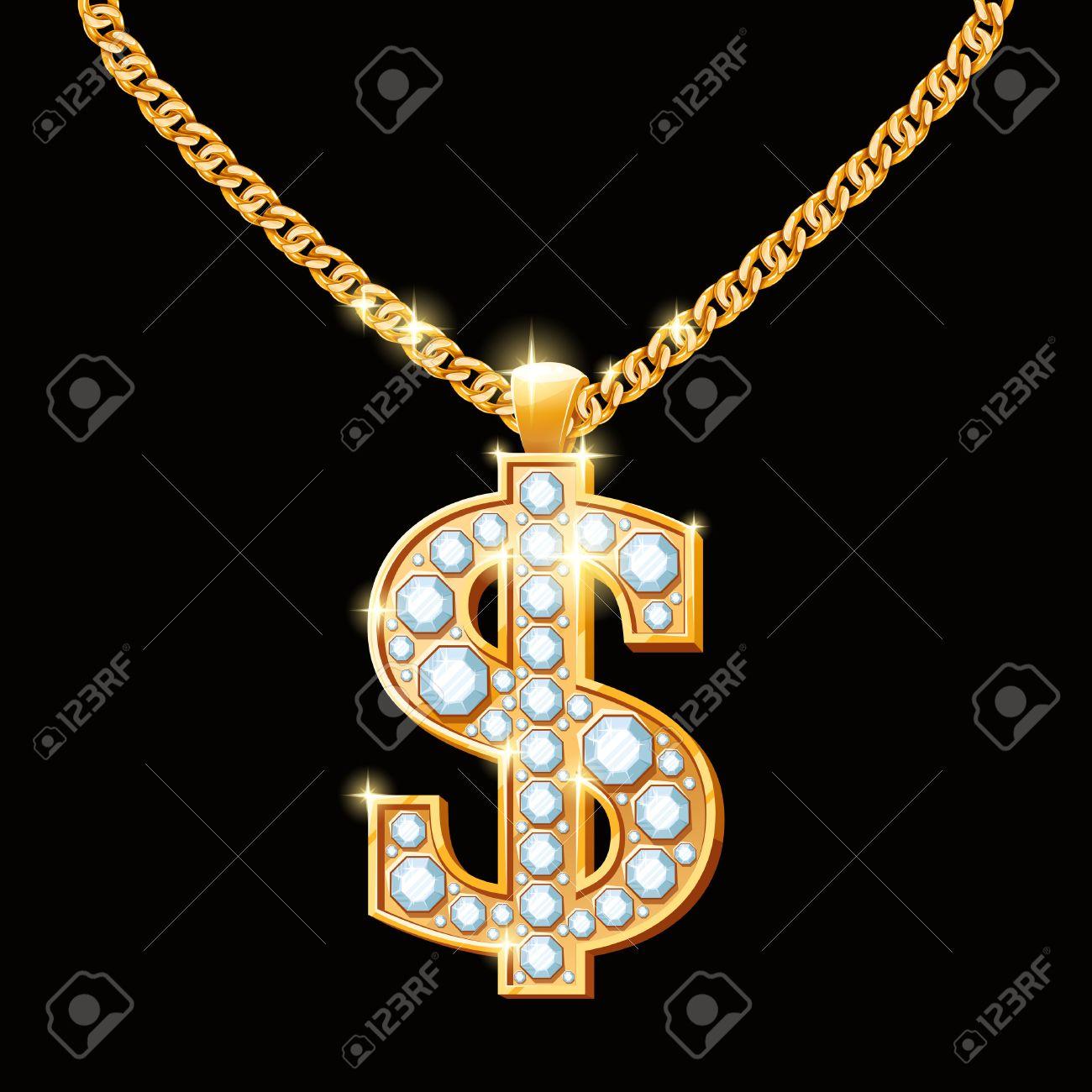 Hip hop goldkette  Dollarzeichen Mit Diamanten Auf Goldkette. Hip-Hop-Stil Halskette ...