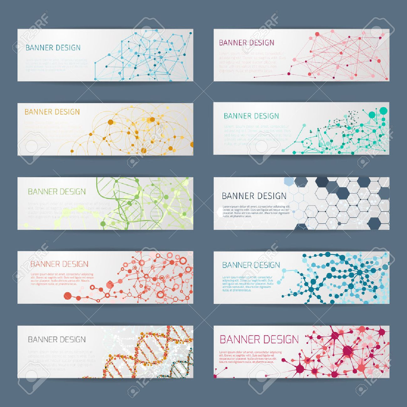 Poster design vector - Abstract Geometric Dna Vector Banners Science Poster Design Structure Chemistry Connect Nuclear Atom