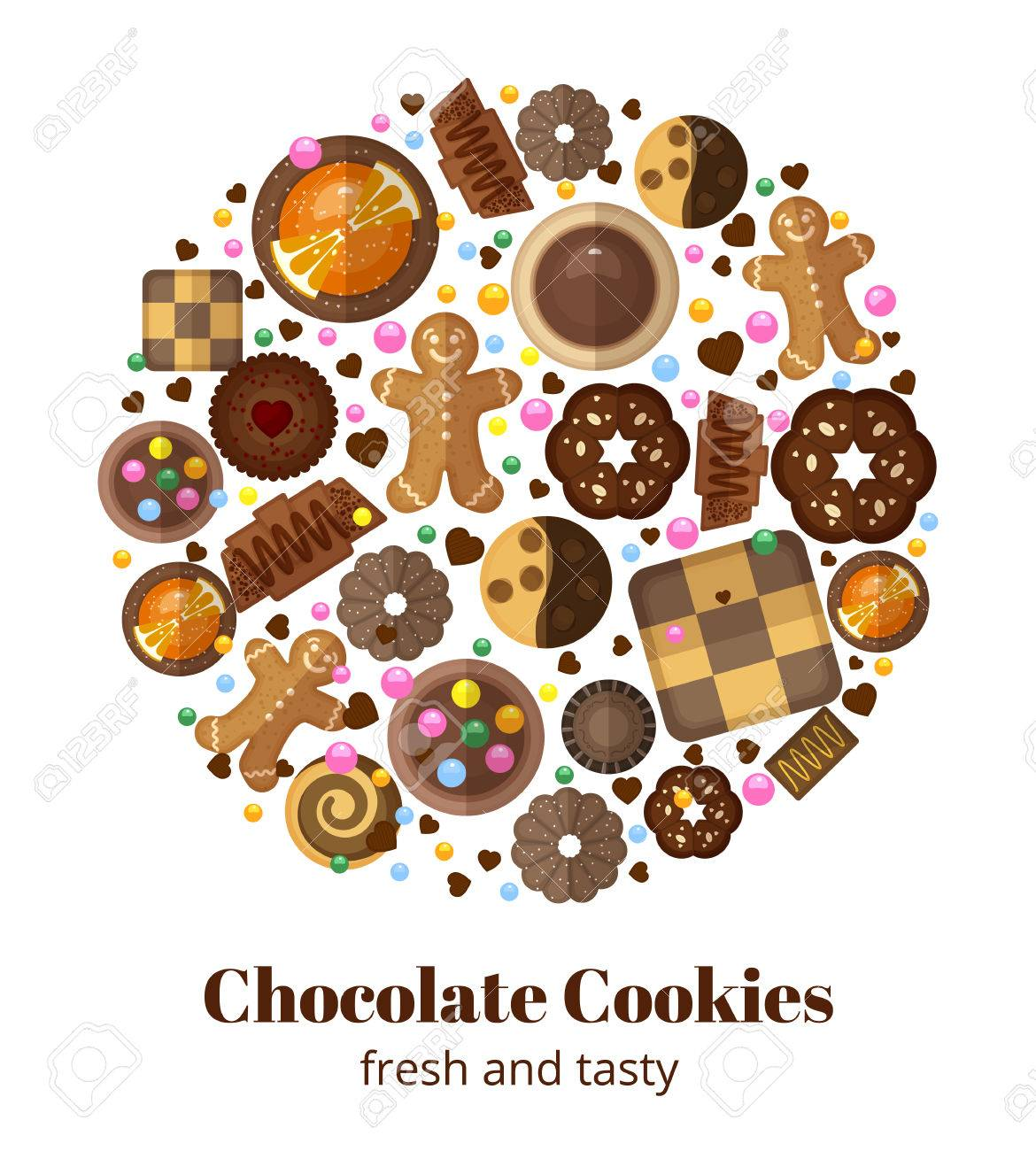 Chocolate Christmas Cookies. Form Circle, Gingerbread Yummy ...