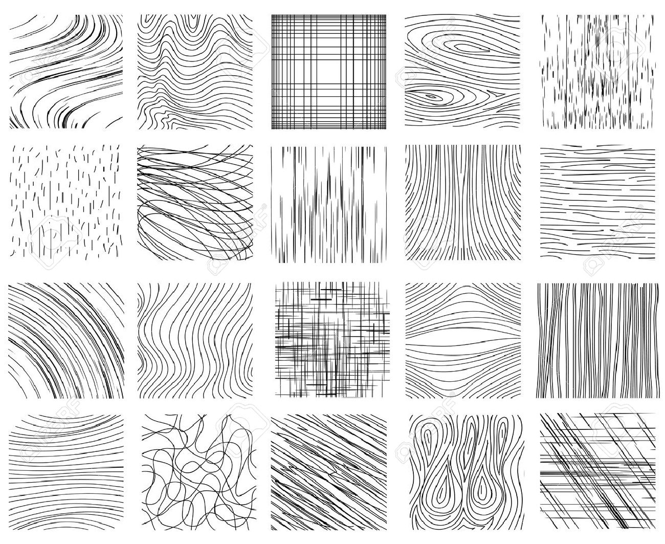 Hand drawn ink line textures. Set of design abstract background pattern, vector illustration Stock Vector - 45734748