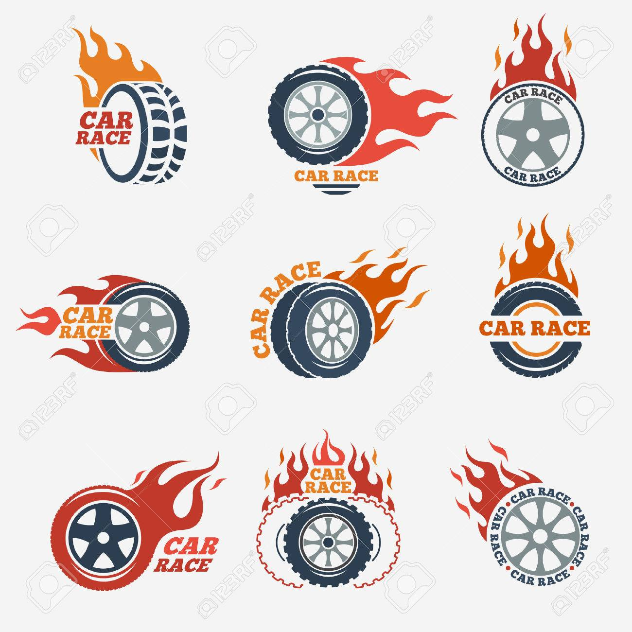 Racing Flat Labels Set. Blaze And Flash, Auto Transport, Flame ... for Racing Tire Vector  1lp1fsj