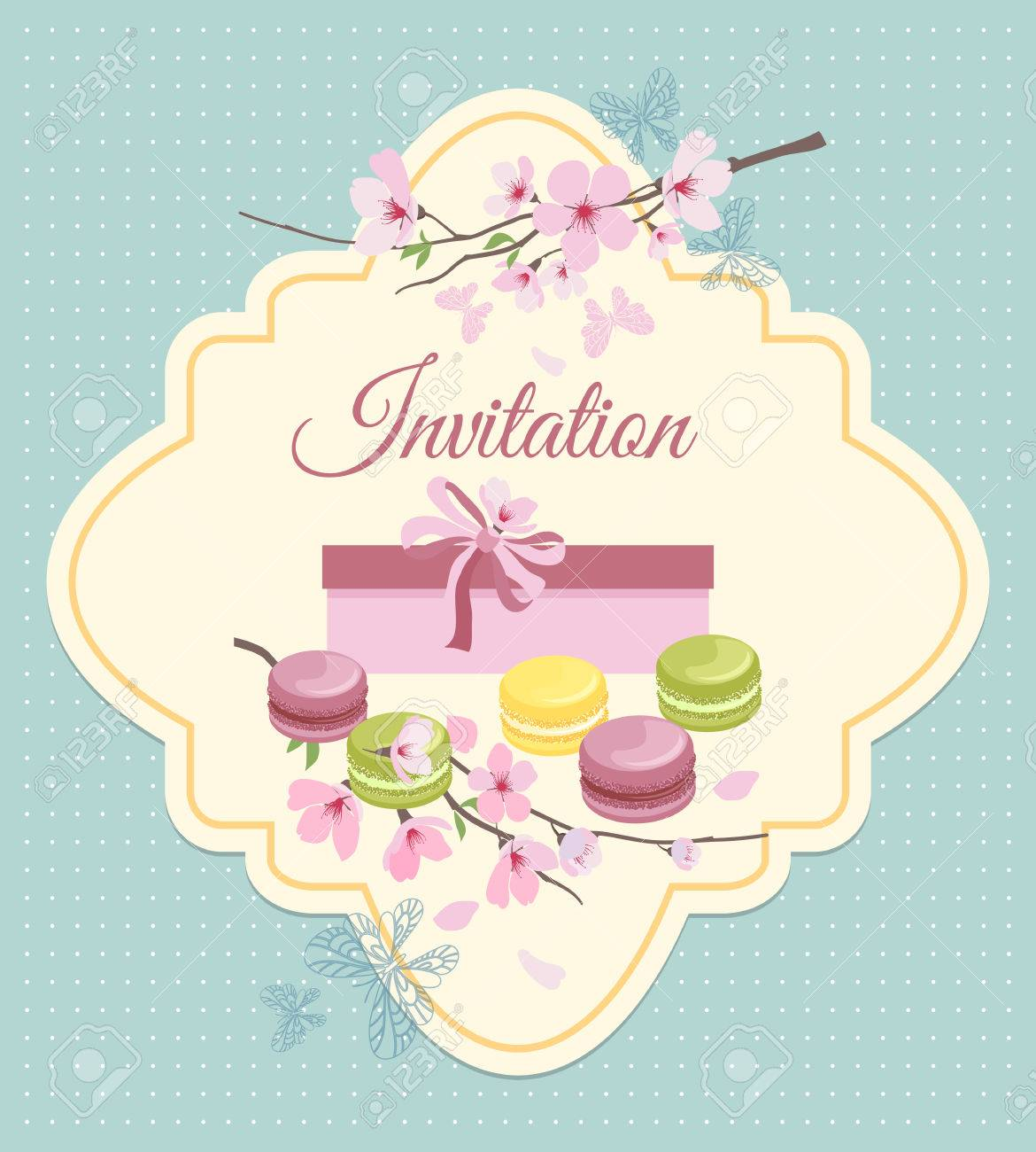 Invitation card to tea party with flowers and french macaroons invitation card to tea party with flowers and french macaroons in vintage nostalgic style sweet stopboris Image collections
