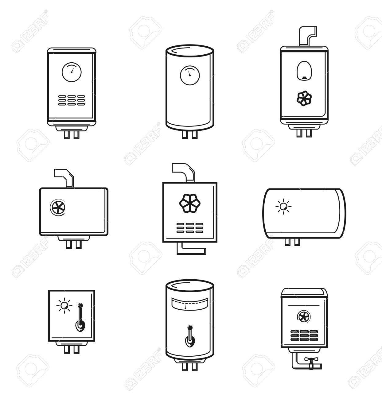 Vector Kessel Symbole Gesetzt. Rohr Und Temperatur, Tank Elektrisch ...