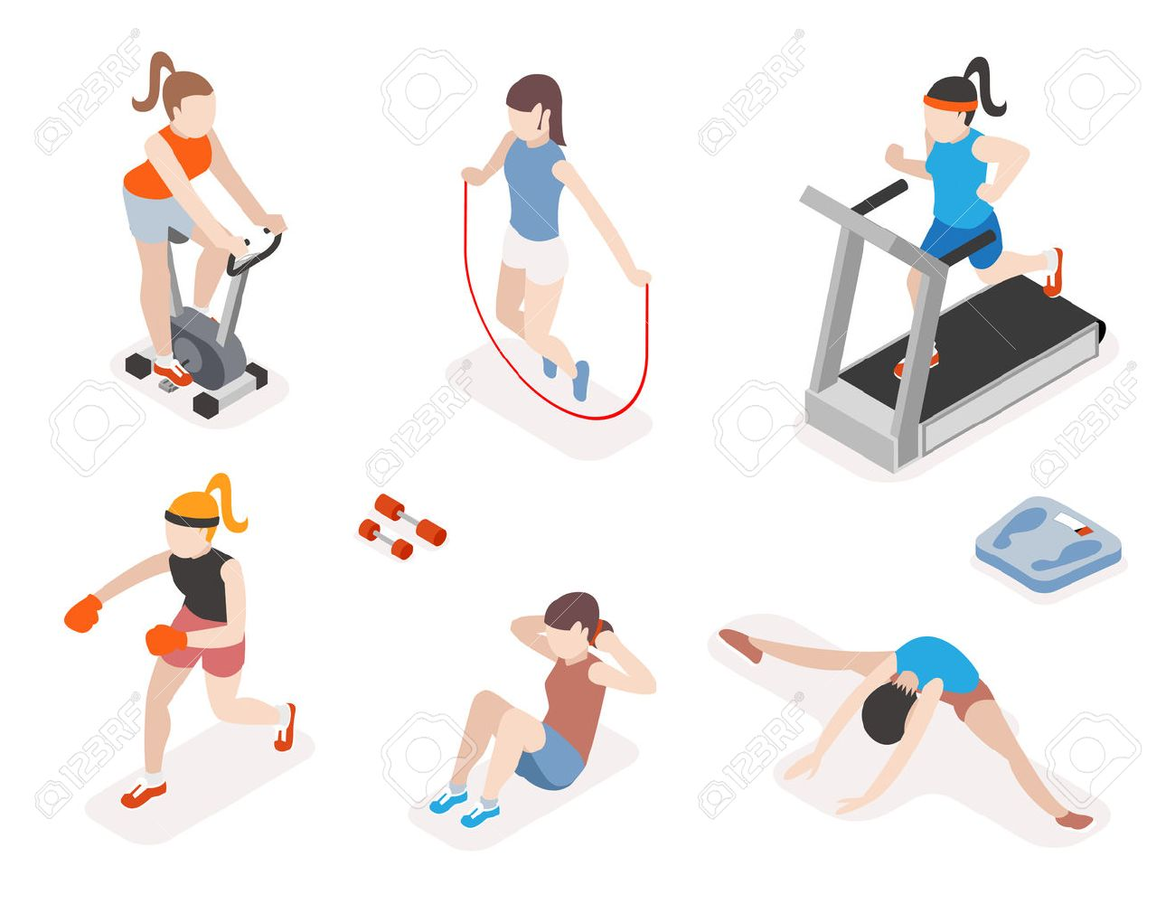 Fitness women in gym, gymnastics workout and yoga exercises. 3d isometric icons. Sport people, health and jumping rope, vector illustration - 45979875