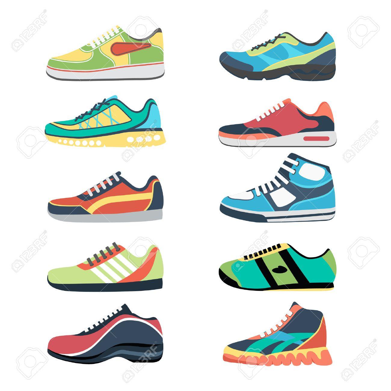 Chaussures de sport set. Sportwear de mode, baskets tous les jours, vêtements de chaussures illustration