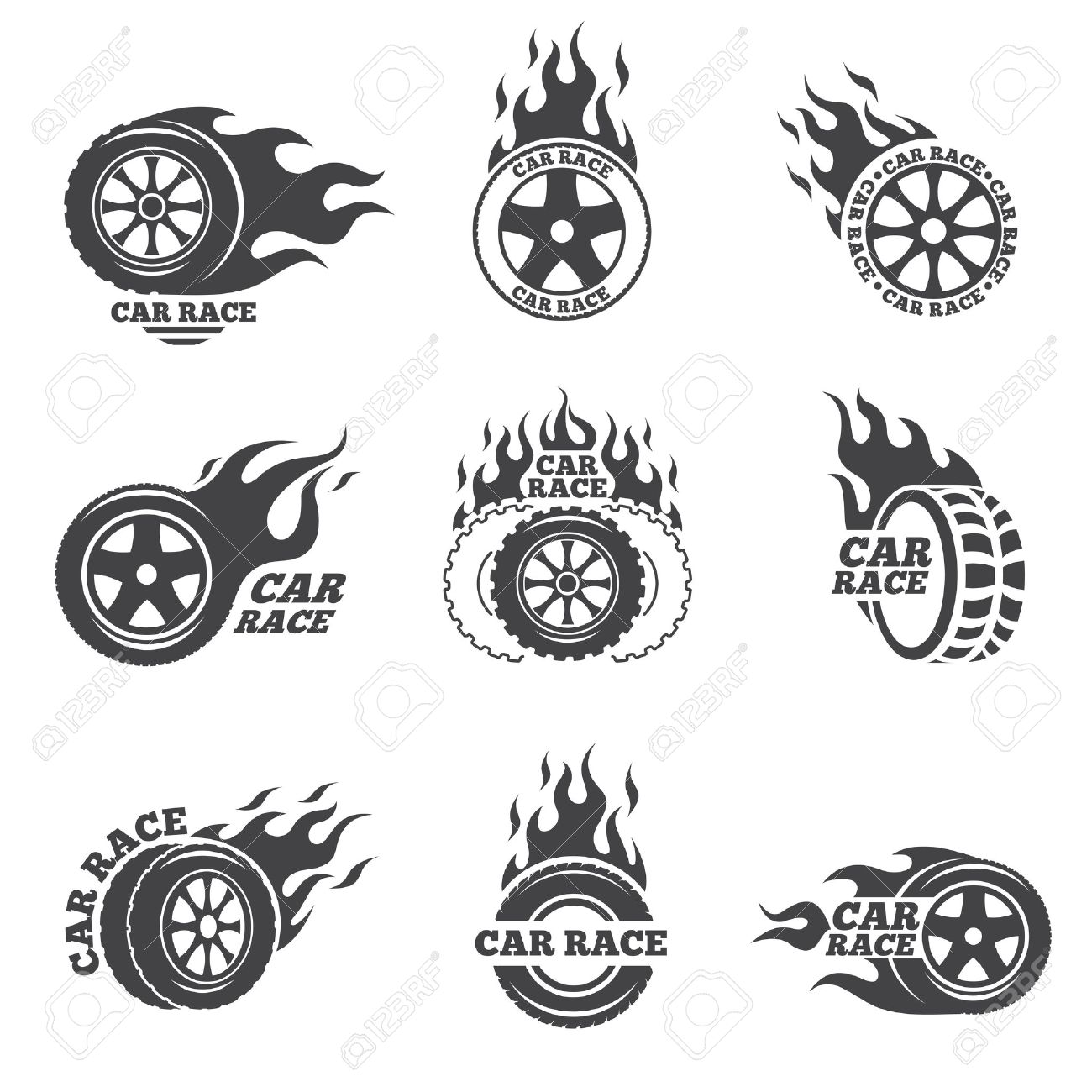 Car Race Logo Set. Wheel With Fire Flame. Sport Speed, Tyre Blaze ... for Racing Tire Vector  34eri