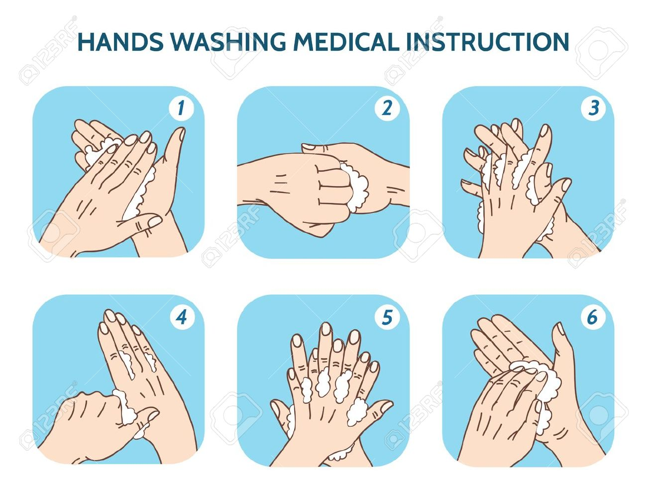 Hands washing medical instruction vector icons set. Water and clean, care hygiene illustration - 46400561