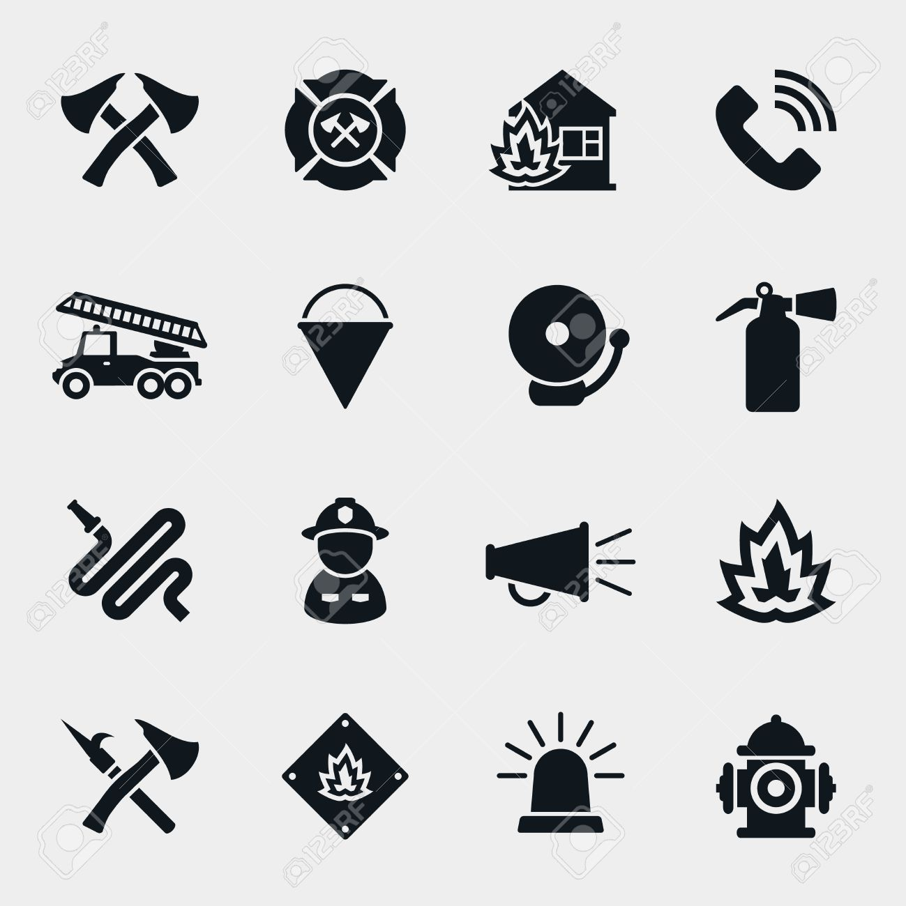 Fire fighter icons set. Firefighter and axe, protection and safety, helmet and hose, vector illustration - 46402059