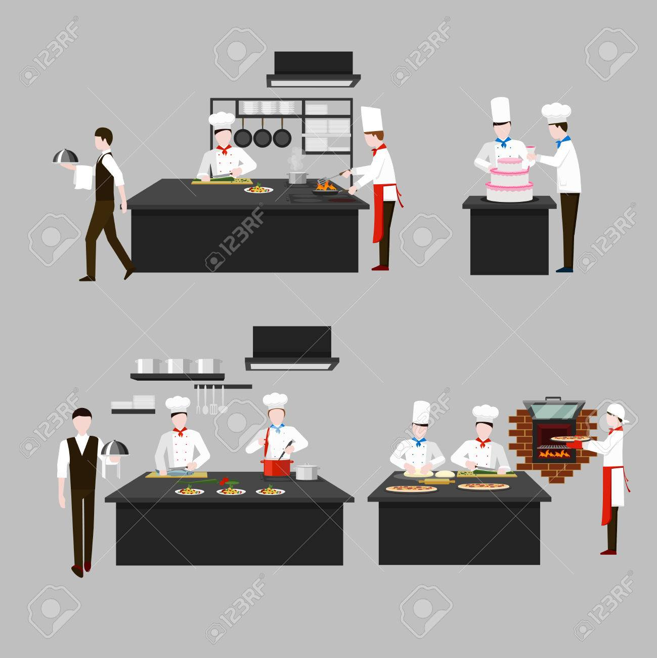 Restaurant Kitchen Illustration cooking process in restaurant kitchen. chef fry and cook