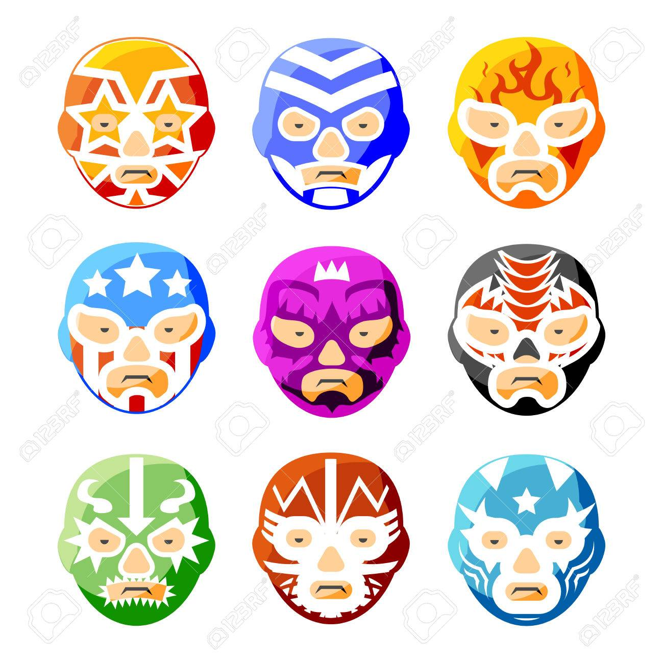 Lucha Libre, Luchador Mexican Wrestling Masks Color Vector Icons ...