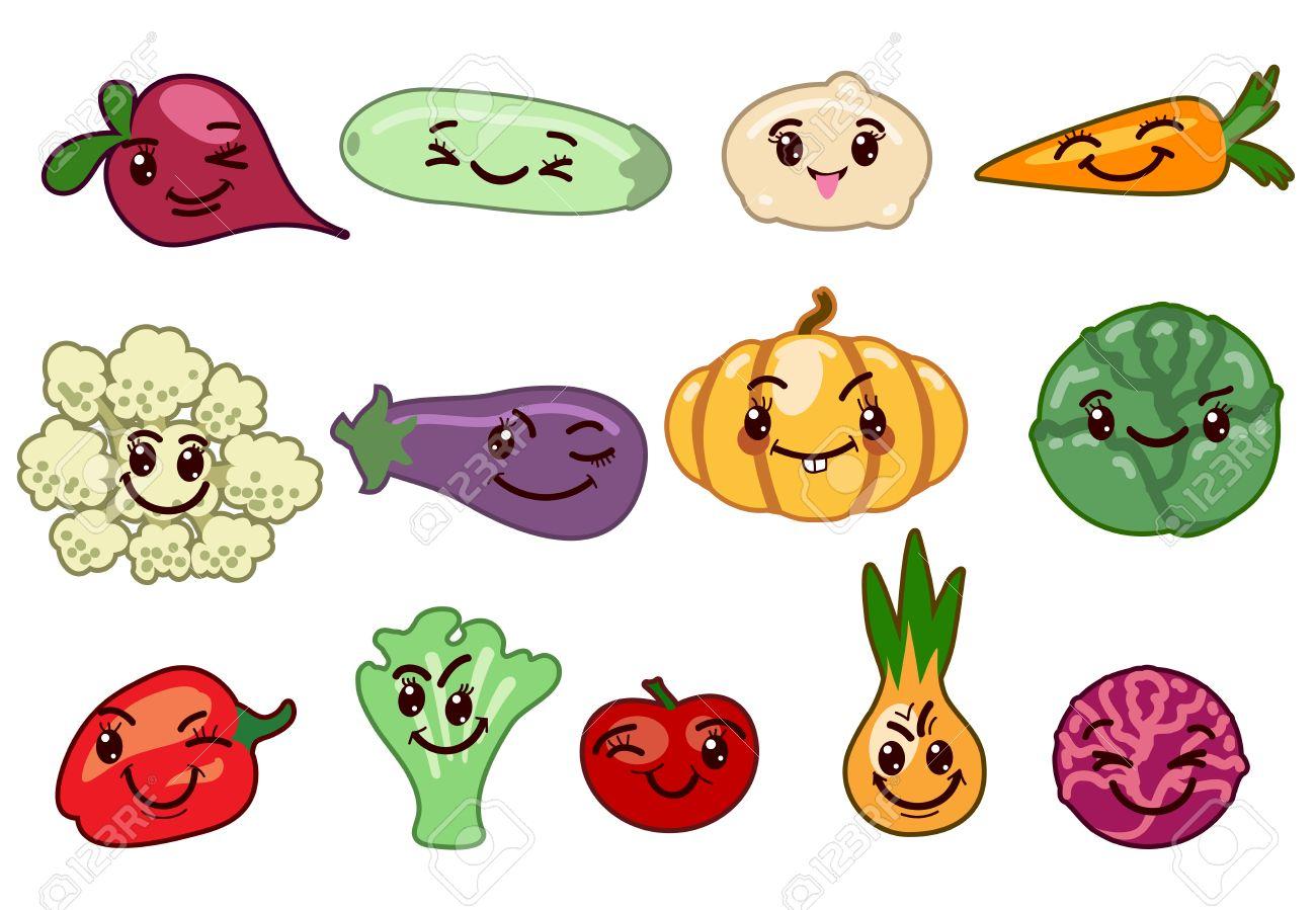 野菜かわいい文字。ピーマン、カボチャ、カリフラワー、大根、ニンジン