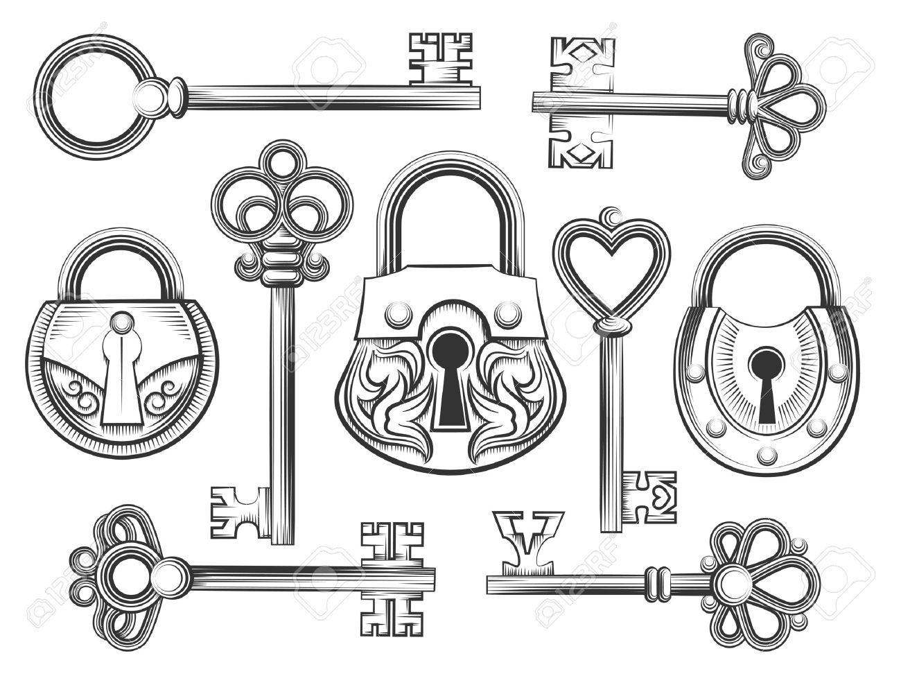 Hand drawn vintage key and lock vector set. Padlock and keyhole, antique collection, security and safety illustration - 46402280