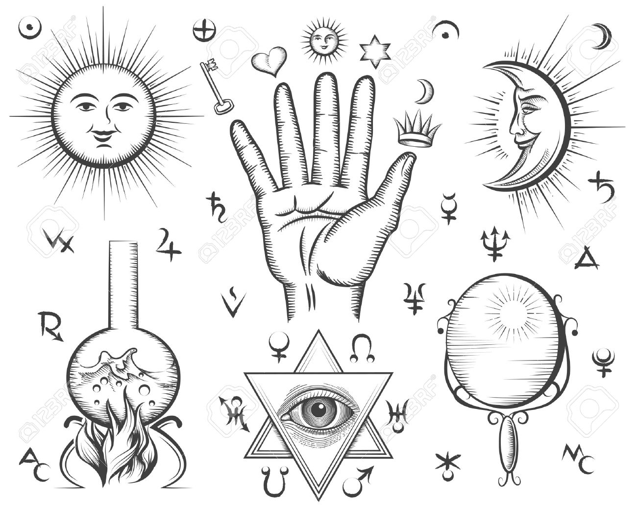 Alchemy spirituality occultism chemistry magic tattoo vector alchemy spirituality occultism chemistry magic tattoo vector symbols design esoteric and buycottarizona