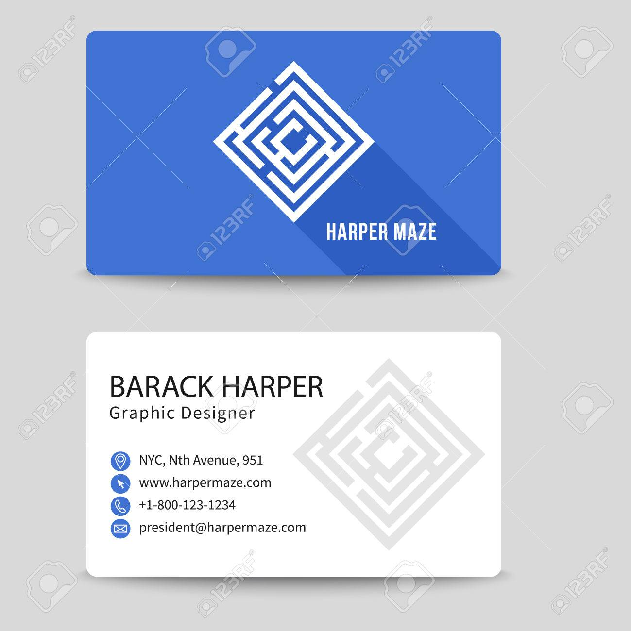 Corporate Business Card With Labyrinth Symbol. Brand And Logotype ...