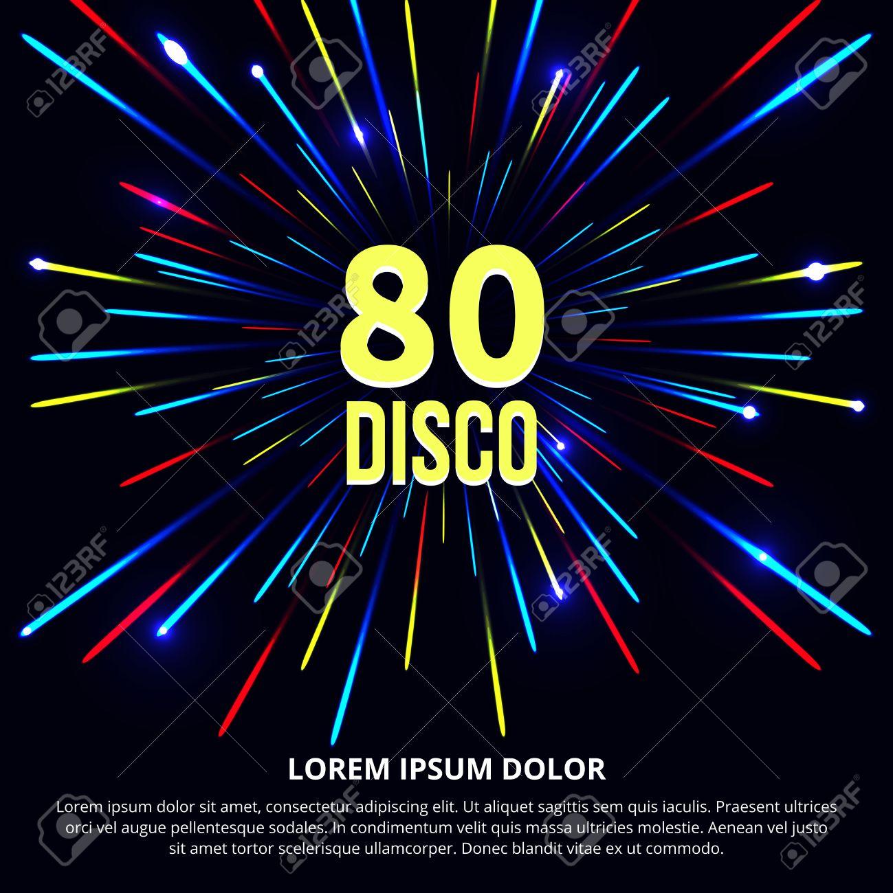 80s poster design - Retro 80s Disco Poster Design Party Music Sound And Audio