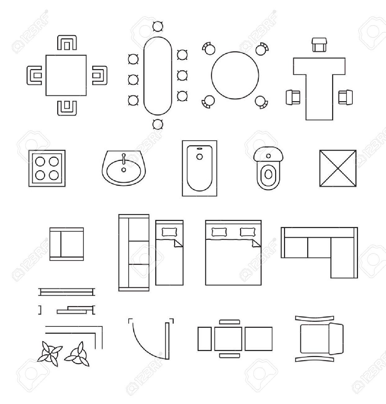 Furniture Linear Symbols Floor Plan Icons Set Interior And
