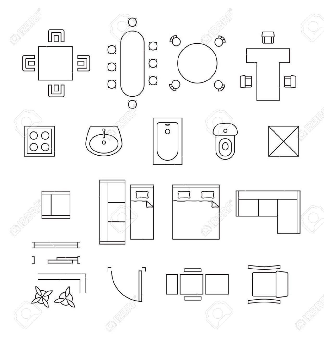 Símbolos Lineales De Muebles. Iconos Conjunto De Planos De Planta ...