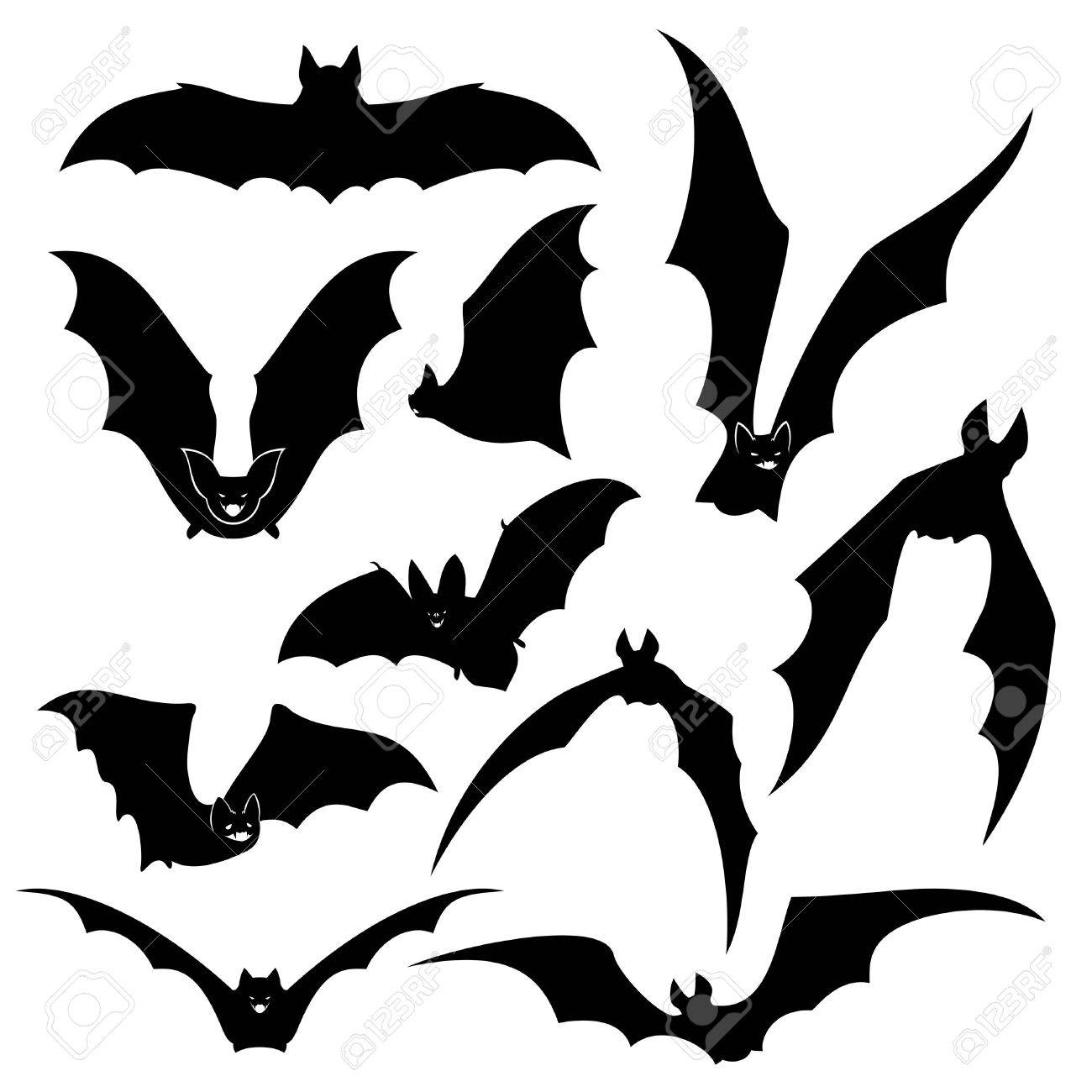 black bats silhouettes set wing and halloween vampire animal wildlife design illustration stock